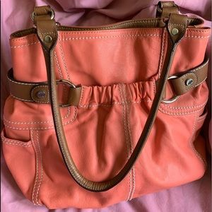 Lovely Coral pebbled leather Tignanello bag.